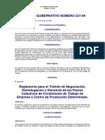 Homologación de Pactos Colectivos ACUERDO GUBERNATIVO 221-94