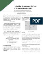 Control de Velocidad de Un Motor DC Por Medio de Un Controlador PID
