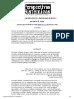 El Futuro Transdisciplinario de La Terapia Sistémica, Por Carlos E