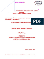 Aspectos Ético y Legales Sobre El Uso de Información Digital.