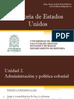 Unidad 2 Administración y Política Colonial - Historia de EEUU