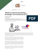 """Abierto El Concurso de Ciencia y Tecnología """"Vive ConCiencia 2017"""""""