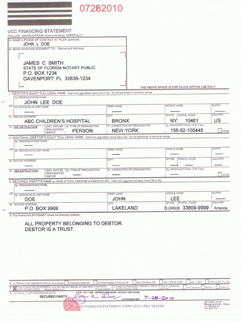 Sample Ucc 1 Amp Property List