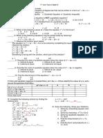 1st Unit Test in Math 9