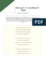 POEM - A Shropshire Lad - II - Loveliest of Trees