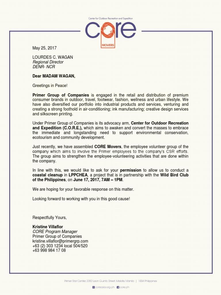 Permit Request Letter Lourdes Wagan Denr Ncr