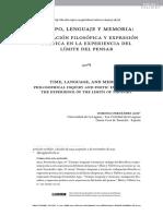 Tiempo, Lenguaje y Memoria Indagación Filosófica y Expresión Poética en La Experiencia Del Límite Del Pensar