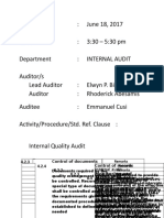 ISO 2 - Internal Quality Audit