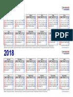 Two Year Calendar 2017 2018 Landscape 2 Rows