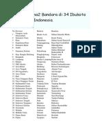Daftar Nama2 Bandara Di 34 Ibukota Provinsi Di Indonesia