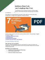7 Langkah Budidaya Ikan Lele (Pembesaran) Lengkap dan Urut.doc