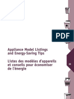Appliance Model Listings and Engery Savings