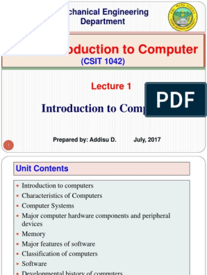 Lecture 1  Introduction to Computers | Computer Data Storage