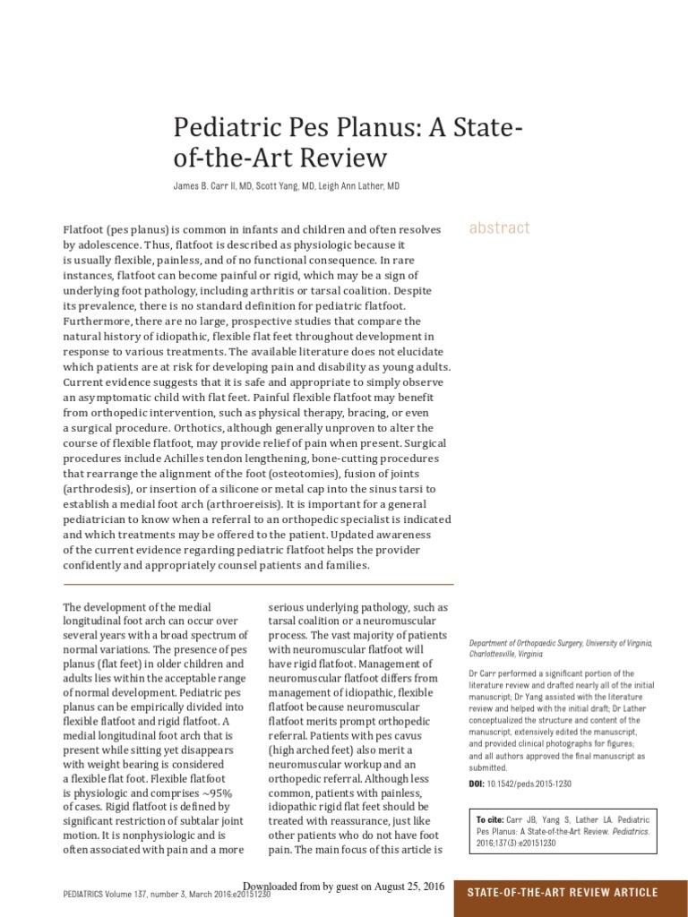 Pediatric Pes Planus: A State- Of-The-Art Review James B