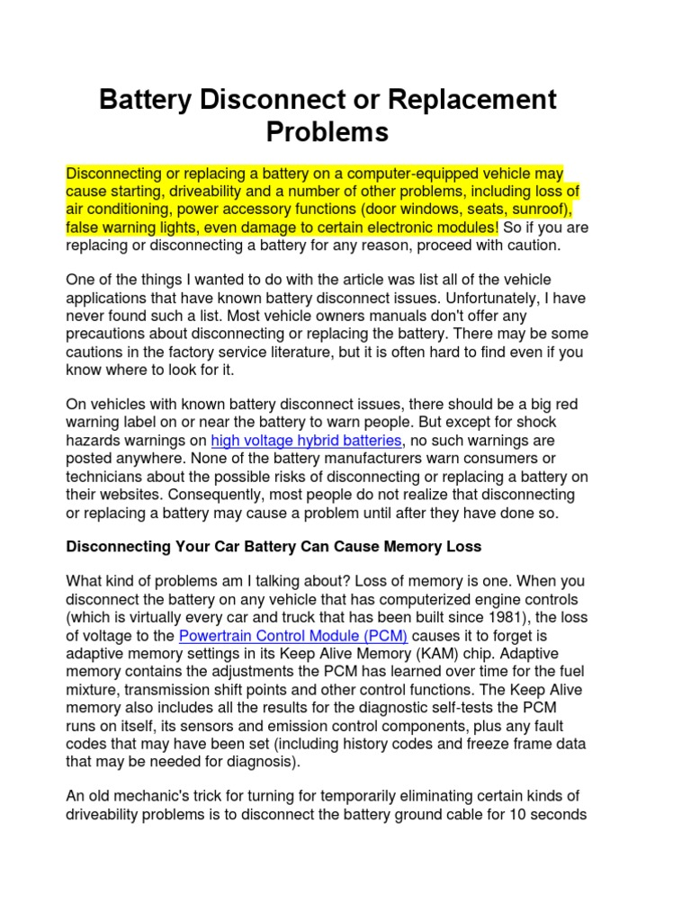 Battery Disconnect or Replacement Problems docx | Wheeled