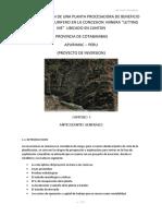 Implementacion de Una Planta Concentradora Para Mineral Aurifero Tipo Filoneano en La Concesion