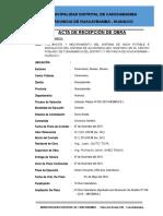ACTA de RECEPCIÓN de OBRA - Saneamiento Tunnamarca