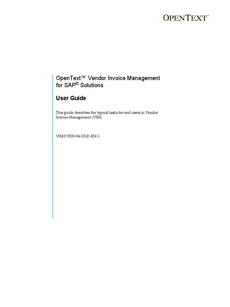 OpenText Vendor Invoice Management For SAP Solutions SP User - Open text invoice management