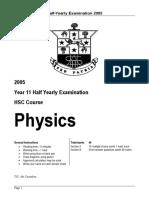 Hurlstone 2005 Physics Prelim HY & Solutions