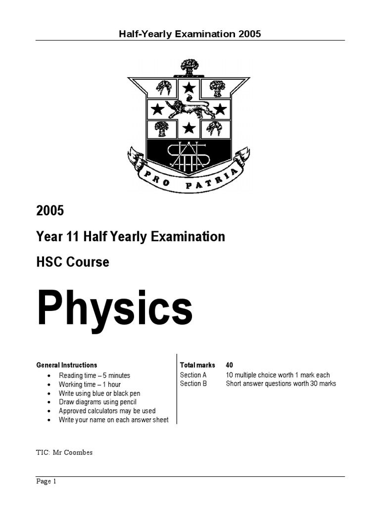 Hurlstone 2005 Physics Prelim HY & Solutions | Waves | Prism