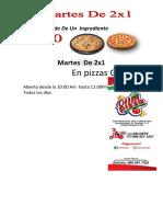 2x1 Oferta de Pizzas Grade de Un Ingrediente Olimpizza