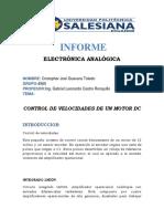universidad Control de Velocidades de Un Motor Dc