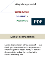 I. Market Segmentation, TARGETING &