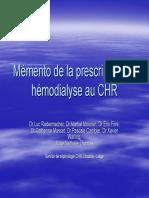 La Prescription en Hemodialyse Au Chr 4d63b7afa439c