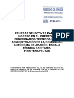 Cuestionario Primer Ejercicio Fisioterapeutas Dga 2015