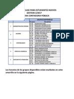 Horarios Estudiantes Nuevos - Contaduria Publica - Gestión 2-2017