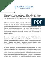 Banca Italia - Informazioni Sulla Soluzione Delle Crisi Di Banca Marche, Banca Etruria