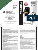 Manual Air Fryer Mondial - Af-15 e Af-16 - 10.15 Rev. 00 - Impressão