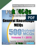 General Knowlege PDF 500 MCQs