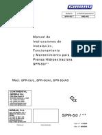 SPR ES 00 416289 Manual de Instrucciones de Instalación, Funcionamiento y Mantenimiento Para SPR