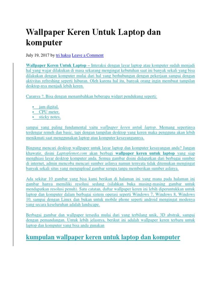 Wallpaper Keren Untuk Laptop Dan Komputercx