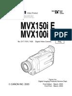 Canon Mvx100 Mvx150i-Sm