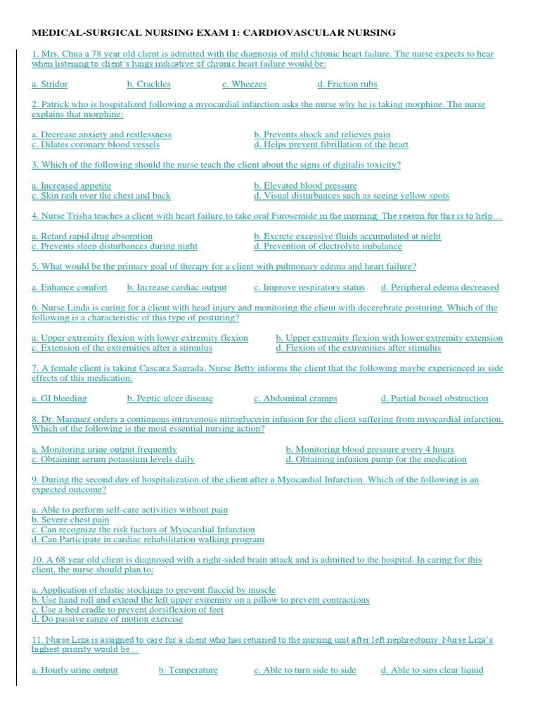 NCLEX Questions | Angina Pectoris | Myocardial Infarction