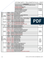 Calendário Litúrgico Tradicional Linear 2017 - Um Novo Lar