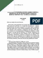 Algunas Consideraciones Sobre Poética Medieval en El Humanismo Catalán