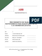 Procedimiento Para Maquinaria, Gruas y Accesorios de Levante