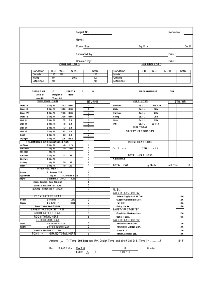 HVAC Cooling Load Estimate Sheet | Hvac | Building Technology