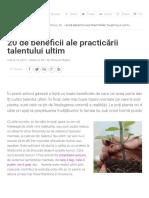 20 de Beneficii Ale Practicării Talentului Ultim