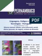 ProfessorAutor-Língua Portuguesa-Língua Portuguesa  I  6º ano  I  Fundamental-Gêneros textuais bilhete, carta (informais), postal, diários (pessoais, de viagem), verbete de dicionário.ppt