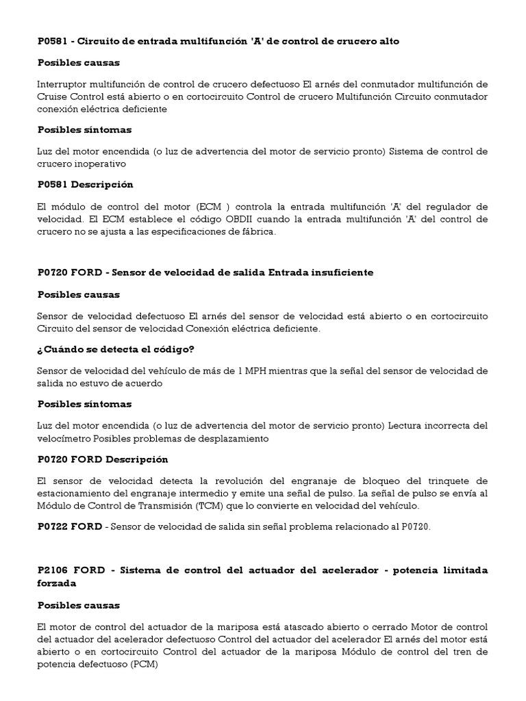 codigo p0581 ford