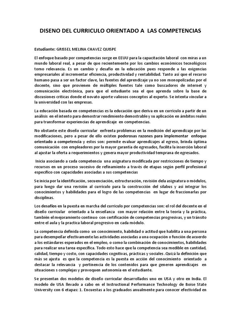 DISENO DEL CURRICULO ORIENTADO A LAS COMPETENCIAS Grissel Chavez ...