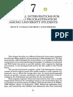 Tuckman, Schouwenburg _ Intervenciones Conductuales Para Reducir La Procrastinación Entre Universitarios