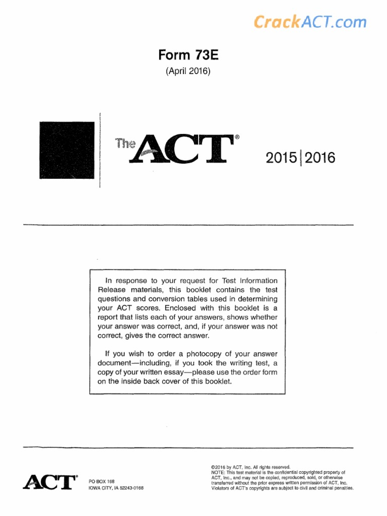 Act 201604 Form 73e Www Crackact Com Pdf I found this website called crackact, and i saw that they have many practice tests available. act 201604 form 73e www crackact com pdf