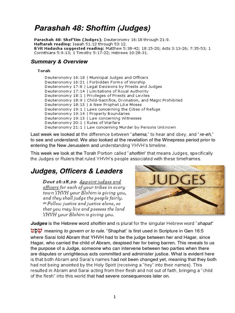 Parashah 48 Shoftim (Judges) 5777 | Book Of Deuteronomy