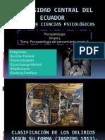 Psicopatologia Del Pensamiento Clasificacion de Delirios