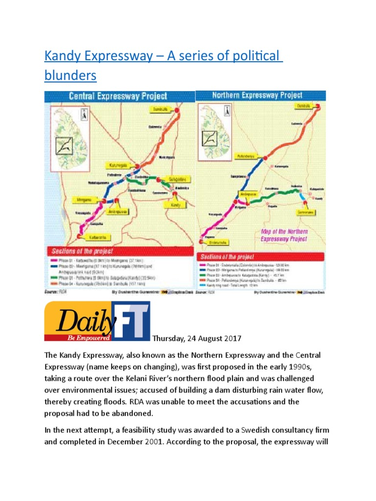 Kandy Expressway – A series of political blunders docx   Controlled